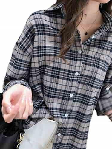 c25b5baac pujingge Women Tops Long Sleeve Casual Loose Classic Plaid Button Down Shirt