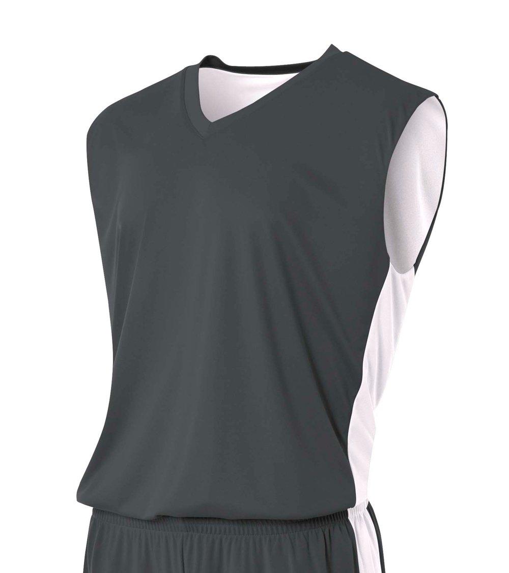 A4 Boy's Reversible Moisture Management Muscle Graphite/White