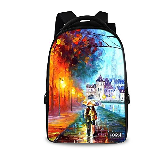 FOR U DESIGNS Classic Countryside Design School Backpack for College or Quiet Camping Backpack for Men and Woman (rain) (Countryside Classics)