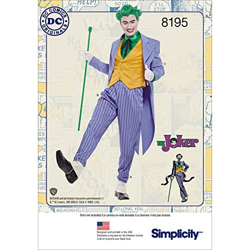 Simplicity Pattern 8195 Men's Joker Costume D.C. Comics Size BB -