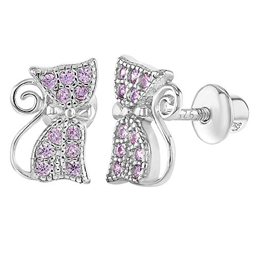 925 Sterling Silver Pink CZ Safety Screw Back Cat Earrings for Girls Teens