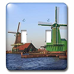 3dRose Danita Delimont - Windmills - Famous windmills of Zaanse Schans, just outside of Amsterdam, Holland - Light Switch Covers - double toggle switch (lsp_257780_2)