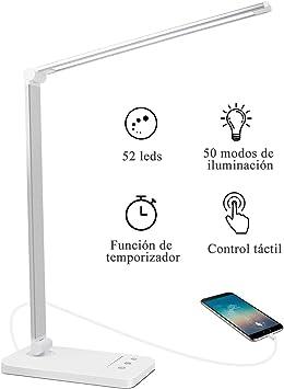 AUELEK Lámpara Escritorio LED, Lámparas de Mesa USB Recargable con ...