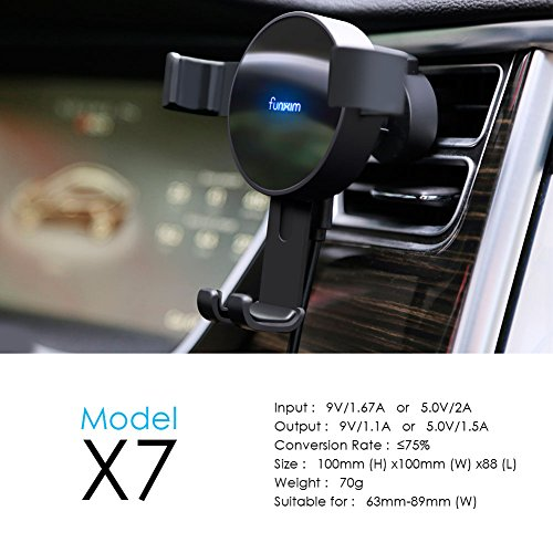 Funxim Fast Wireless Car Charger X7, Air Vent Car Mount Holder Cradle Fast Charge Qi Standard for iPhone 8 iPhone 8 Plus iPhone X Samsung Galaxy S8 S8+ S7 S7 Edge S6 Edge Compatible Qi Enabled Mobile by Funxim (Image #2)