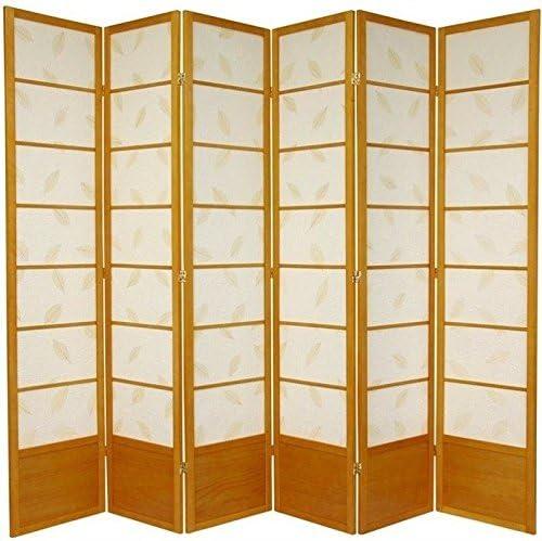 Oriental Furniture 7 ft. Tall Botanic Shoji Screen – 6 Panel – Honey