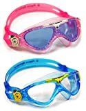 Aqua Sphere Vista Junior 2 Pack Swim Goggles, Pink and White with Blue Lens, and Blue and Yellow with clear lens