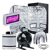 Hydro Plus Grow Tent Complete Kit LED 300W Grow Light + 4'' Fan Filter Ventilation Kit + 24''x24''x48'' Grow Tent Setup Hydroponics Indoor Plants Growing System (LED300W+24''x24''x48''+4'' Filter Kit)