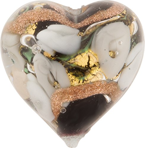 Black with White Roses Aventurina Gold Foil Bed of Roses 16mm Heart Murano Glass Bead Handmade Lampwork -