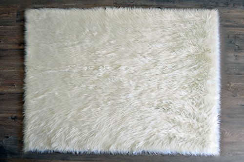 Machine Washable Faux Sheepskin White Rug 4' x 6' - Soft and silky - Perfect for baby's room, nursery, playroom (4' x 6' ft) by KROMA CARPETS
