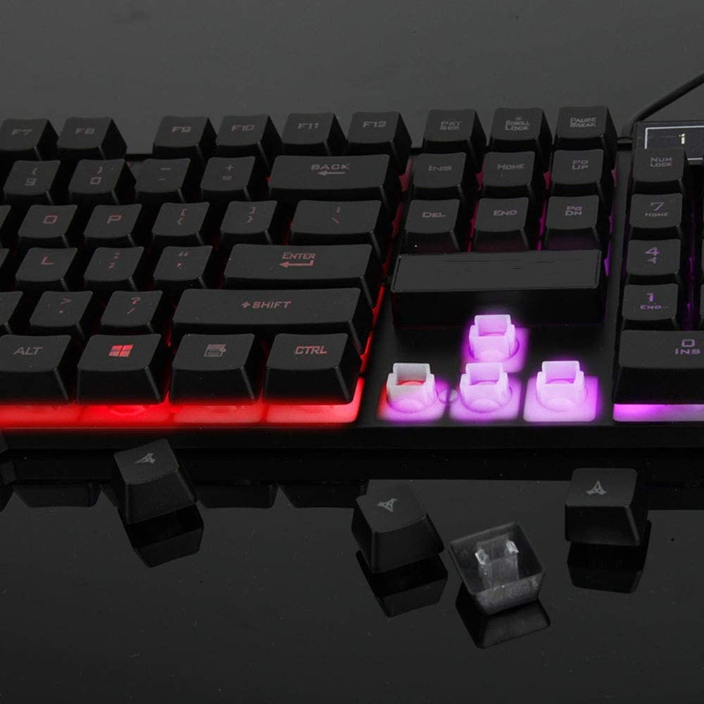 GUODLIN Rainbow Backlit Keyboard USB Cable Game Lighting Suspension Mechanical Feel Keyboard Black and White Color : Black
