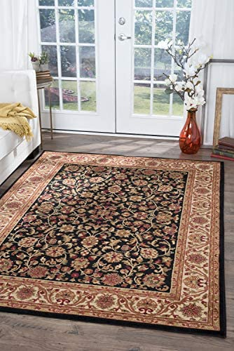 Ventura Transitional Oriental Black Rectangle Area Rug, 9 x 12