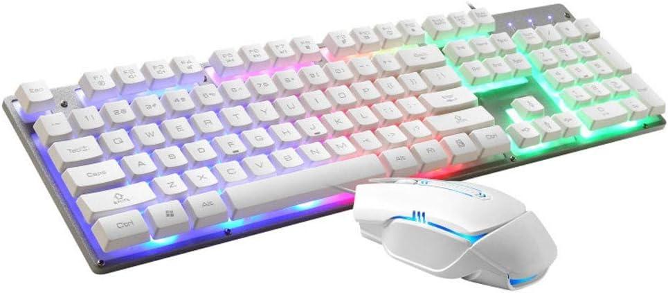 Juego de teclado y ratón, juego de teclado y ratón, teclado para juegos, teclado de juego con retroiluminación LED arcoíris, ratón programable, ratón LED USB, ratón para juegos, cómodo y duradero
