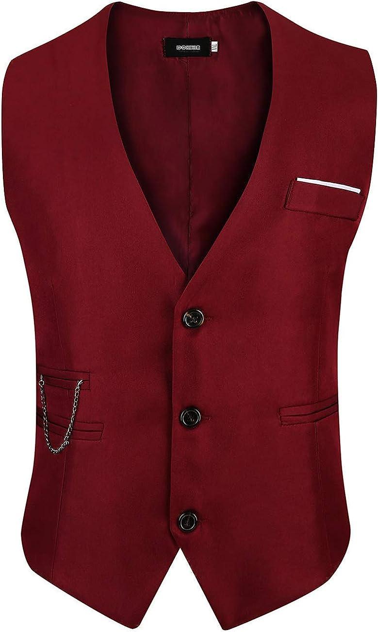 DOKKIA Men's Waistcoat Business Slim Fit Sleeveless Jacket Dress Vest