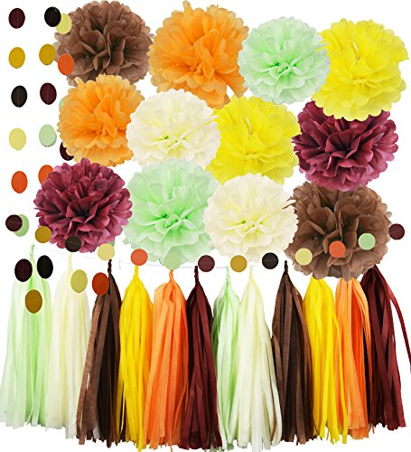 Thanksgiving Party Supplies/Harvest Fall Party Decorations Yellow Brown Burgundy Mint Cream Orange Tissue Pom Pom Paper Garland Tassel Garland for Fall Theme Wedding/Autumn Birthday Party Decorations