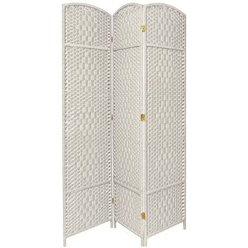 3 Panel Diamond Room Divider - Oriental Furniture 7 ft. Tall Diamond Weave Room Divider - White - 3 Panels