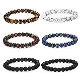 FUNRUN JEWELRY 6PCS Bead Bracelets for Men Women Natural Stone Mala Bracelet Elastic (A: 6PCS Style 1)