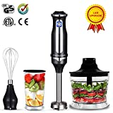 Immersion Blender, THRITOP powerful 4-in-1 Hand Blender Stick Blender with 350ml food chopper,BPA Free 700Ml Mixing Beaker and Egg Whisk,Puree Baby food,smoothies,Sauces and soups,black(2 Tpye)