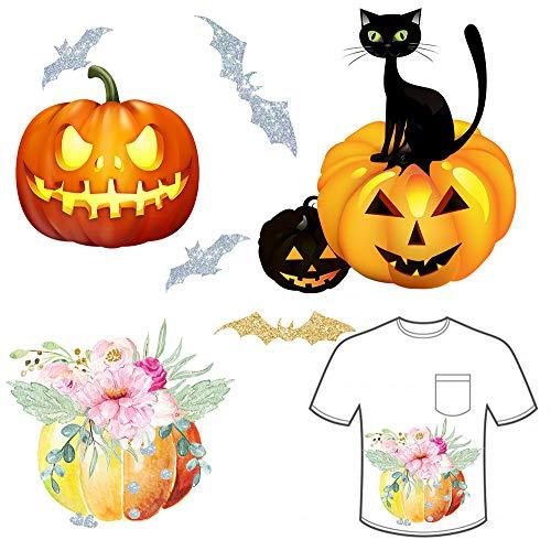 Halloween Patch Pumpkin Glitter Bat Iron on Patch 4Pumpkins and 4Bats Transfer Fits Clothes Dress Hat Jeans DIY Accessory Halloween Party