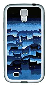 Galaxy S4 Case, Personalized Custom Protective Soft Rubber TPU White Edge Black Blue Cats Case Cover for Samsung Galaxy S4 I9500