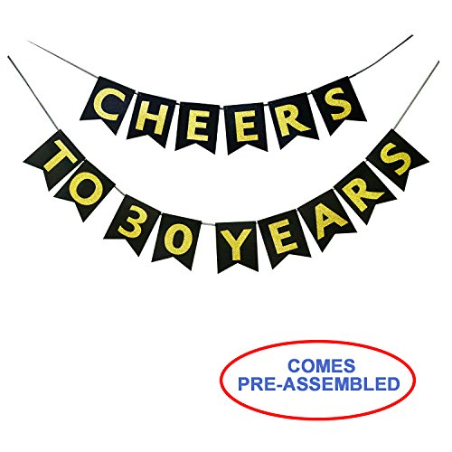 Cheers to 30 Years Banner - Happy 30th Birthday Party Decorations - 30th Wedding Anniversary Decorations - NO ASSEMBLY REQUIRED -