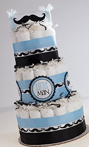 The '' Classy Little Man'' Mustache Diaper Cake. Baby Shower Centerpiece or Gift. by Sassy and Sweet Boutique