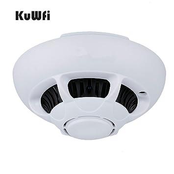 KuWFi HD 1080p Wifi Espía Cámara IP Cámara De Detección De Humo Cámara Escondida Mini Videocámara: Amazon.es: Electrónica