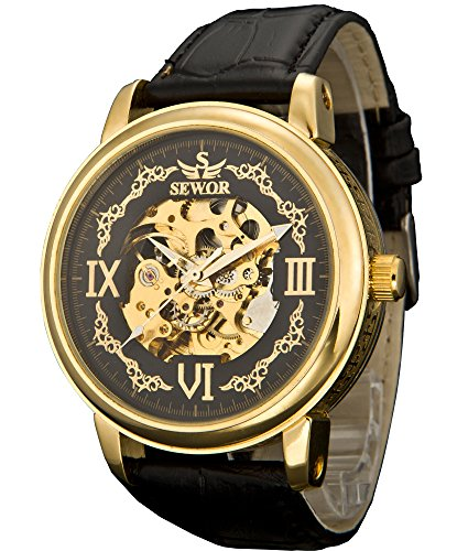 SEWOR Men's Dress Mechanical Hand Wind Gold Movement Leather Wrist Watch Three Attractive Styles(Brown Gift Box) (Skeleton Rose Style)