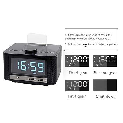 Altavoz Bluetooth con Reloj Despertador, Reloj Despertador Digital USB para la Oficina del Dormitorio,