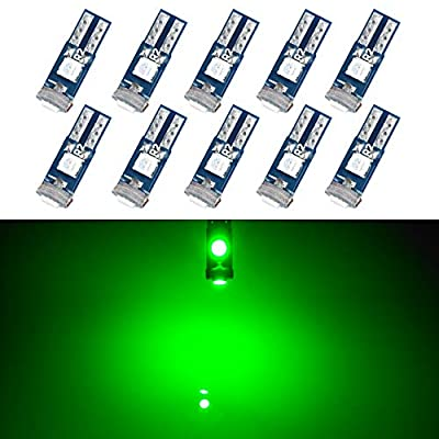 T5 LED Bulb Dashboard Dash Lights Green 3030 SMD Wedge Base for Car Truck Instrument Indicator Air Conditioning AC Lamp Auto Interior Accessories Kit Bright 12V 1W 1 Year Warranty Pack of 10【1797】: Automotive