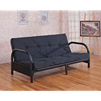 2345 Futons Contemporary Metal Futon Frame with Sleek Metal Arms Extra Leg and Tubular Legs in Black Finish