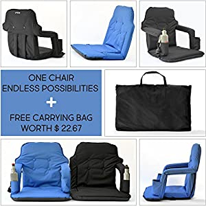 Extra Wide Reclining Stadium Seat – New Deluxe Model + Free Carry Bag – Water Resistant + Thick Padded Seat Cushions & armrest + 2 Drink Holders– For Maximum Comfort by Smart Ideas 4 Life (Black)