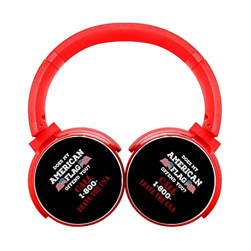 - Noise Reduction Wireless Hifi Stereo Bass Over Ear Bluetooth Headphones Foldable Soft Memory Protein Earmuffs For Pc/Cell Phones/Tv 3.5Mm Plug Print American Flag Call Red