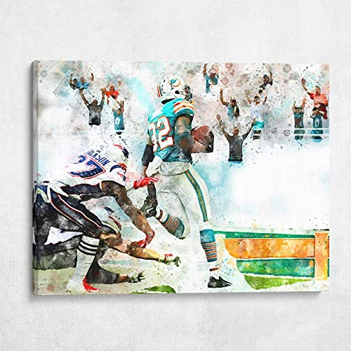Gallery Farm | Miami Miracle Kenyan Drake Dolphins | 1.5 Inch Thick Gallery Canvas Print, Wall Art (40x30)