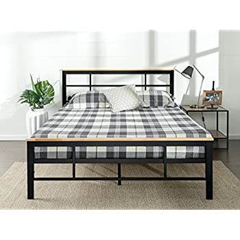 zinus urban metal and wood platform bed with wood slat support queen