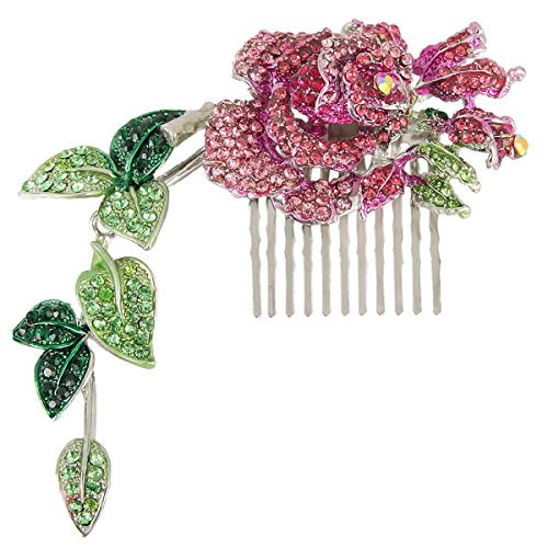 (EVER FAITH Silver-Tone Austrian Crystal Wedding Rose Floral Vine Leaf 5.5 Inch Hair Comb Pink)