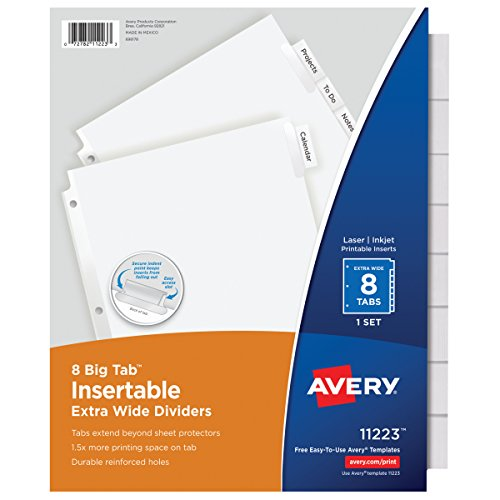 Avery 11223 Insertable Big Tab Dividers, 8-Tab, 11 1/8 x 9 1/4