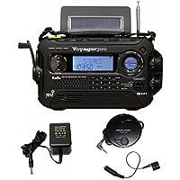 KA600 BLACK Solar/Crank AM/FM/SW NOAA Weather Radio, BONUS AC adapter/charger, Bonus Reel Antenna, 5-LED reading lamp, 3-LED flashlight