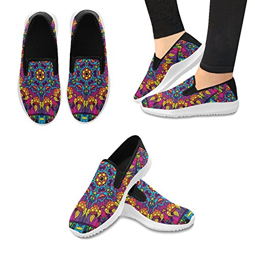Interestprint Hippie Psykedeliske Kunst Kvinners Slip-on Loafer Sko Lerret  Mote Joggesko Multi 1 ...