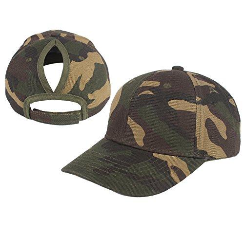 - Kokkn Ponytail Baseball Cap Hat Ponycaps Messy Ponytail Adjustable Outdoor Cap Trucker Dad Hat for Women Men (New Camo)