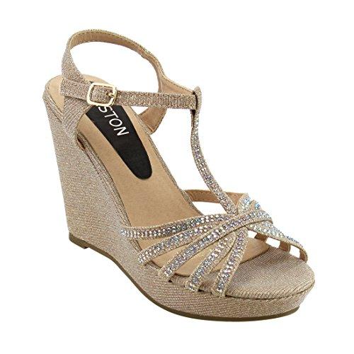 Beston ID68 Women's Glitter T-strap Cage Platform Wedge Sandal Half Size Smaller, Color:GOLD, Size:8