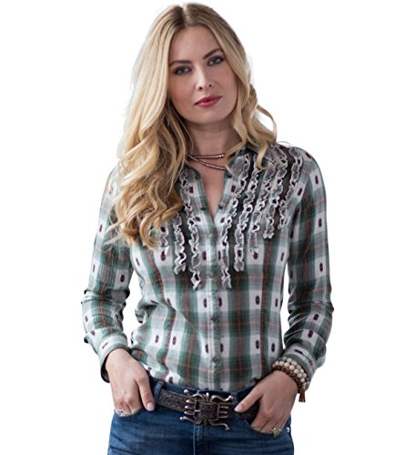 Ryan Michael Ombre Plaid Scroll Snaps Ruffle Front Western Style Women's Shirt