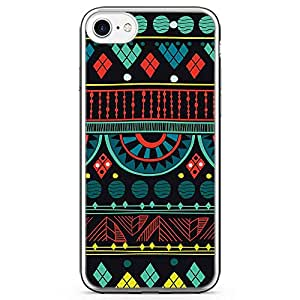 iPhone 8 Transparent Edge Phone case African Pattern Phone Case African Art Style Phone Case Bright Red And Neon Yellow