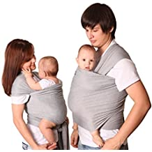 Baby wrap carrier, best sling for newborn, soft stretchy cloth, grey