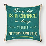 Satin Throw Pillow Cushion Cover,Lifestyle,Every Day is a Chance to Change Your Opportunities Quote Retro Poster Print,Jade Green Tan,Decorative Square Accent Pillow Case