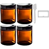 Amber Glass Straight Sided Jar - 4 oz (4 Pack) + Spatulas and Labels