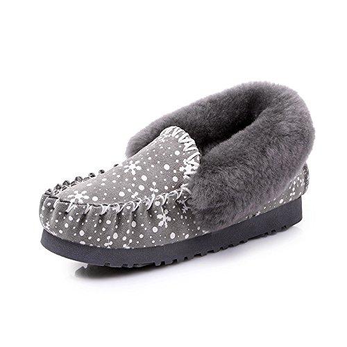 BYUYAN Stiefel Schneeschuhe Schuhe aus Baumwolle für Frauen Kurze Stiefel Winter Plus Baumwolle warme Sojabohnen Schuhe aus Baumwolle Schuhe Grau, 37,