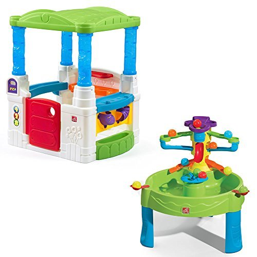 Step2 Busy Ball Table and WonderBall Fun House Combo Playset for Toddlers - Outdoor Indoor Learning Activity Games with Accessories, (Activity Playhouse)