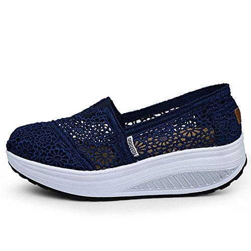 Mljsh Kvinna Mesh Slip-on Plattform Toning Skor Virka Fitness Träna Sneaker Mörkblå