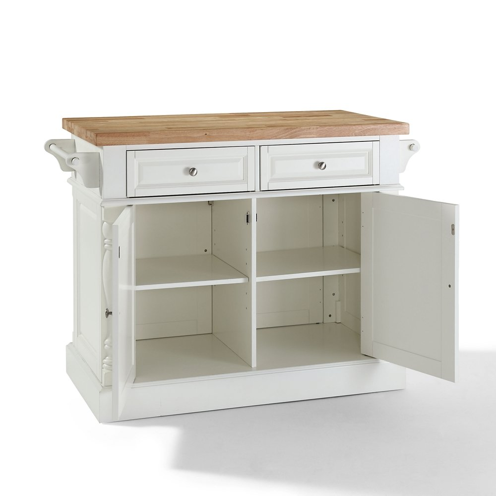 Com Crosley Furniture Kitchen Island With Butcher Block Top White Dining