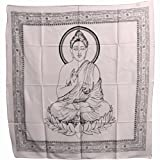 Buddha Indian Cotton Yoga Meditation Prayer Altar Cloth (40'' x 40'') (White)